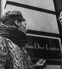 Yves Saint Laurent in front of Christian Dior Lond